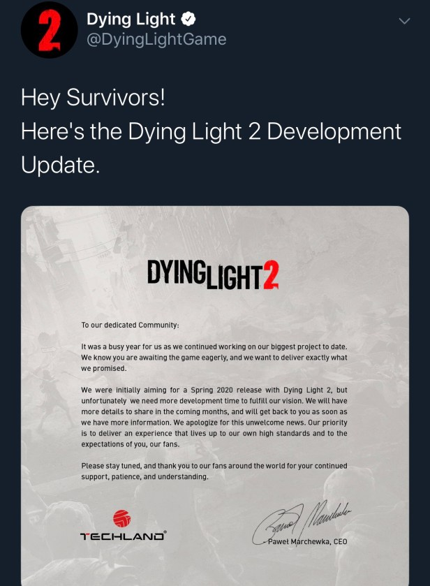 Dying Light 2 Joins List of Delayed Games